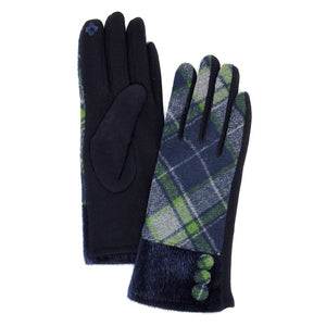 Button Accent Olive Faux Fur Cuff Gloves Olive Tartan Plaid Gloves Olive Tartan Plaid Smart Gloves Olive Tartan Plaid Warm Winter Gloves; fashionable, softly brushed poly stretch knit, finished with a hint of stretch for comfort, flexibility, elegant classy look in winter season. Perfect Gift Birthday, Christmas, Stocking Stuffer, Anniversary