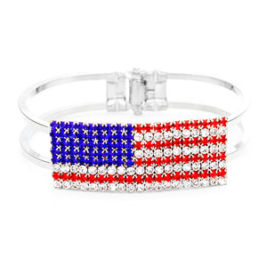 Red, White & Blue Crystal Pave American Flag Hinged Bracelet, add a statemnt to your outfit with this beautiful accessory. It's set in beautiful crystal stones in our patriotic vibrant colors. Perfect of any time day/night, ideal for election day, national holidays, show your love for this country with some sparkle.