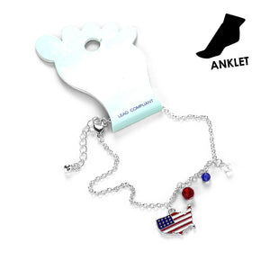 Red White Blue Anklet Patriotic Anklet Flag Anklet USA Anklet Beaded Anklet Charm Anklet Patriotic Jewelry State map Anklet