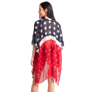 American US Flag Kimono Poncho American Flag Cover Up Beachwear is made easy, relaxed silhouette, perfectly breezy, laid-back, an accessory easy to pair with many tops, elevating a casual outfit! Perfect Gift! Independence Day, 4th of July, Memorial Day, Flag Day, Labor Day, Election Day, Veterans Day, President Day