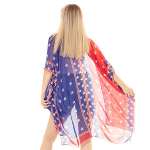 American USA Flag Print Cover Up American USA Flag Print Kimono Poncho Beachwear