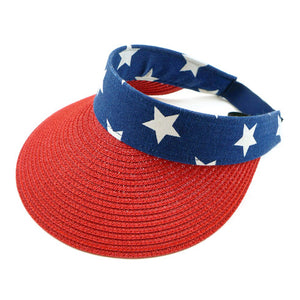 American USA Flag Visor Hat American USA Flag Straw Visor, whether you're basking under the summer sun at the beach, lounging by the pool, or kicking back with friends at the lake, a great hat can keep you cool & comfortable. Sun Hat, Mother's Day Gift, Birthday Gift, Sun Visor, Straw Visor Hat, American Flag Visor Cap