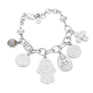 Hamsa Hand Charm Bracelet, Hamsa Hand Bracelet brings its owner happiness, luck, health & good fortune, wearing this can bring you good luck! Multi Charm adds a statement to your attire. Perfect Birthday Gift, Anniversary Gift, Mother's Day Gift, Graduation Gift, Just Because Gift, Bridesmaid Keepsake