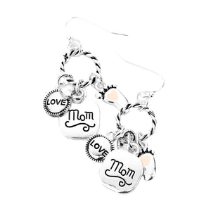 Braided Circle LOVE Mom Enamel Foot Dangle Earrings Love Mom Earrings, with your favorite tops & dresses! Show mom how special, appreciated & loved she is with this fabulous gift. Perfect for Birthday Gift, Mother's Day Gift, Thank you Gift or Just Because! Regalo Dia de las Madres, Regalo para Mama, Mom Gift, Ma Gift