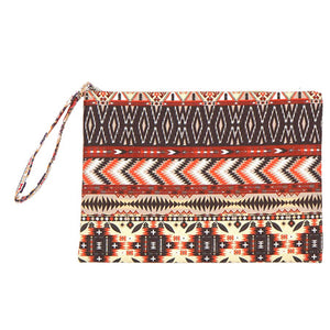 Multi Orange Brown Aztec Pouch Bag, perfect for money, credit cards, keys or coins, comes with a wristlet strap for easy carrying. Great for running errands while keeping your hands free. Perfect Birthday Gift, Mother's Day Gift, Anniversary Gift, Beach Vacation, Thank you Gift, Just Because Gift, Aztec Wristlet, Aztec Clutch Bag