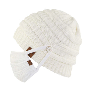 Angie CC Cable Knit Beanie Hat with Buttons for Mask (Mask Sold Separately)