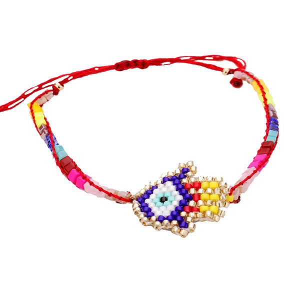 Beaded Hamsa Evil Eye Adjustable Bracelet Beaded Hamsa Hand Evil Eye Bracelet Seed bead Hamsa Bracelet