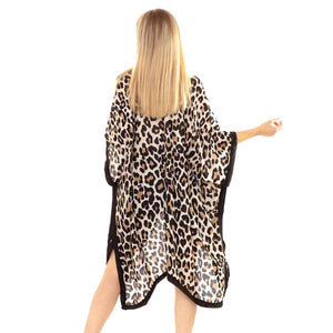 Beige Leopard Print Kimono, Accent your look with this soft lightweight Leopard Print Kimono, wear over your favorite blouse & slacks for a chic look, use over your bathing suit and enjoy the beach or pool. Perfect Birthday Gift, Mother's Day Gift, Anniversary Gift, Vacation Getaway, Thank you Gift, Beachwear, Animal Print Kimono Cover Up