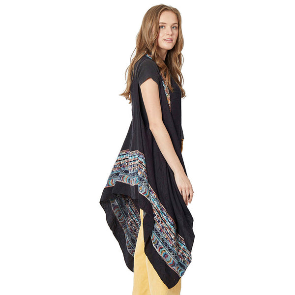 Black Aztec Pattern Embroidered Kimono Accent your look with this soft lightweight Aztec Embroidered Kimono, wear over your favorite blouse & slacks for a chic stylish look, use over your bathing suit, enjoy the beach or pool. Perfect Birthday Gift, Mother's Day Gift, Anniversary Gift, Beachwear, Thank you Gift, Aztec Cover-Up Kimono, Aztec Kimono Vest