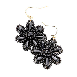 Black Beaded Flower Earrings, jewelry that fits your lifestyle adding a pop of pretty color. Enhance your attire with this vibrant beautiful modish daisy dangle earrings. Perfect Birthday Gift, Mother's Day Gift, Anniversary Gift, Thank you Gift, complete your Easter Ensemble, Daisy Jewelry, Floral Earrings, Flower Earrings