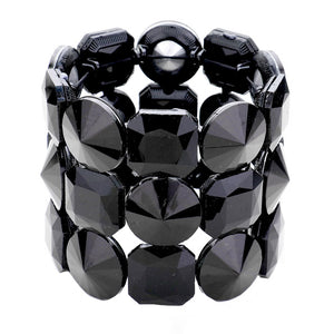 Black Crystal Bracelet Glass Stone Stretch Bracelet exquisite, sparkling, dare to dazzle with this bejeweled bracelet, just the right fit for outfit from T-shirt to a cocktail Dress. Ideal piece for any special occasion, wedding, prom, night out. Perfect Birthday Gift, Valentine's day Gift, Mother's Day Gift, Love you Gift