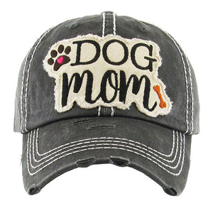 Black Distressed DOG MOM Baseball Cap, great for the cool Dog Mom for the daily walks rain or shine. The distressed frayed style with faded color, embroidered patch and contrast stitching baseball cap with fun statement will become your favorite cap. Perfect Birthday Gift, Mother's Day Gift, Anniversary Gift, Thank you Gift