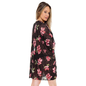 Black Lightweight floral print Kimono easy to pair with many tops, from camis to relaxed tees, elevate any casual outfit! Luxurious, flowy kimono wear it over your swimsuit for a day in the sun. Perfect Birthday Gift, Anniversary Gift, Thank you Gift, Just because Gift, Mother's Day Gift, Beachwear, Spring/Summer wear