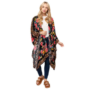 Black Paisley Print Kimono Beach, Poolside chic made easy with this lightweight Floral print Long Cover Up featuring relaxed silhouette, great over your swimsuit or wear over your favorite blouse & slacks, Perfect Birthday Gift, Anniversary Gift, Mother's Day Gift, Graduation Gift, Fun Beachwear, Floral Long Check Kimono, Floral Long Beachwear