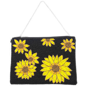 Bright Vibrant Clutch Bag, Seed Bead Sunflower Crossbody Bag, Perfect Birthday Gift, Valentine's Day Gift, Anniversary Gift, Loved One Gift, Mother's Day Gift, Vacation Ready, Sunflower Clutch Bag, seed Bead Handbag, Handcrafted Handbag, Glass Handbag, Beach Crossbody Bag, Black Sunflower Handbag