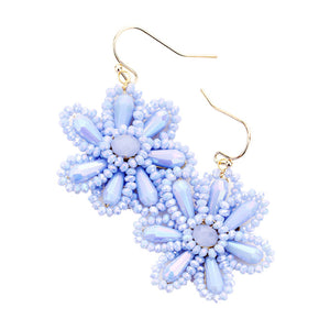 Light Blue Beaded Flower Earrings, jewelry that fits your lifestyle adding a pop of pretty color. Enhance your attire with this vibrant beautiful modish daisy dangle earrings. Perfect Birthday Gift, Mother's Day Gift, Anniversary Gift, Thank you Gift, complete your Easter Ensemble, Daisy Jewelry, Floral Earrings, Flower Earrings