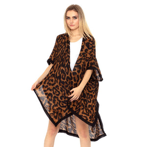 Brown Leopard Print Kimono, Accent your look with this soft lightweight Leopard Print Kimono, wear over your favorite blouse & slacks for a chic look, use over your bathing suit and enjoy the beach or pool. Perfect Birthday Gift, Mother's Day Gift, Anniversary Gift, Vacation Getaway, Thank you Gift, Beachwear, Animal Print Kimono Cover Up