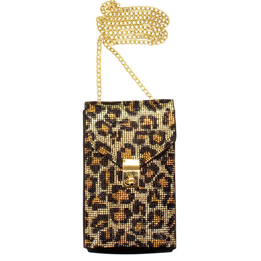 Brown Leopard Rhinestone Crossbody Bag Dazzling Leopard Crossbody Bag, Sparkling stones adorn all sides of this lustrous style, adds a romantic & glamorous touch Great wedding, prom, sweet 16, Quinceañera, hands-free dance the night away. Perfect Birthday Gift, Valentine's Day Gift, Anniversary Gift, Mother's Day Gift, Thank you Gift