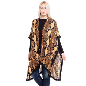 Reptile Cover Up, Snake Print Kimono, Flowy Silhouette Poncho, Vacation Ready Kimono, Beach Cover Up, Snake Top Kimono, open front Kimono, Perfect Birthday Gift, Valentine's Day Gift, Anniversary Gift, Mother's Day Gift, Lightweight Kimono, Sunflower Cover-up, Fun Beachwear, Reptile Print Kimono, Reptile Print Cover Up