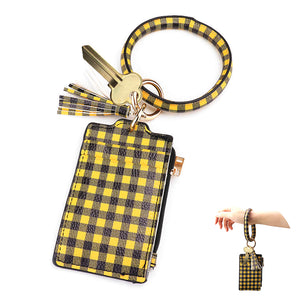 Black Yellow Buffalo Check Faux Leather Buffalo Check Faux Leather Key Chain Bracelet Buffalo Check Faux Leather Card Holder Buffalo Check Faux Leather Coin Zipper Purse