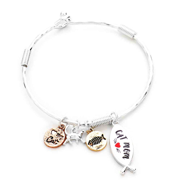 Cat Mom Charm Bracelet Love My Cat Cat Mom Bracelet Hook Closure this beautiful cat themed dangle charms bracelet are the perfect gift for the woman in our lives who love cats. Perfect gift for National Cat Day, Birthday, Anniversary, Christmas, Just Because, Cat Lover, #catmom