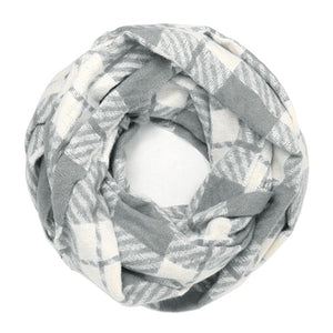 Classic Super Soft Gray Plaid Check Infinity Scarf Wintry Plaid Endless Loop Scarf delicate, on trend, deluxe addition to any cold-weather ensemble. Wraps around neck, great for daily wear, keeps you warm, feels amazing snuggled up against your cheeks. Perfect Gift Birthday, Christmas, Anniversary, Loved One, Valentine's Day