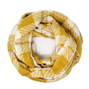 Classic Super Soft Mustard Plaid Check Infinity Scarf Wintry Plaid Endless Loop Scarf delicate, on trend, deluxe addition to any cold-weather ensemble. Wraps around neck, great for daily wear, keeps you warm, feels amazing snuggled up against your cheeks. Perfect Gift Birthday, Christmas, Anniversary, Loved One, Valentine's Day