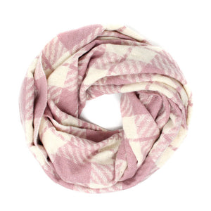 Classic Super Soft Dusty Pink Plaid Check Infinity Scarf Wintry Plaid Endless Loop Scarf delicate, on trend, deluxe addition to any cold-weather ensemble. Wraps around neck, great for daily wear, keeps you warm, feels amazing snuggled up against your cheeks. Perfect Gift Birthday, Christmas, Anniversary, Loved One, Valentine's Day