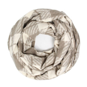 Classic Super Soft Beige Plaid Check Infinity Scarf Wintry Plaid Endless Loop Scarf delicate, on trend, deluxe addition to any cold-weather ensemble. Wraps around neck, great for daily wear, keeps you warm, feels amazing snuggled up against your cheeks. Perfect Gift Birthday, Christmas, Anniversary, Loved One, Valentine's Day