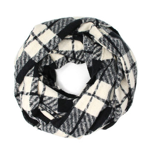 Classic Super Soft Black Plaid Check Infinity Scarf Wintry Plaid Endless Loop Scarf delicate, on trend, deluxe addition to any cold-weather ensemble. Wraps around neck, great for daily wear, keeps you warm, feels amazing snuggled up against your cheeks. Perfect Gift Birthday, Christmas, Anniversary, Loved One, Valentine's Day