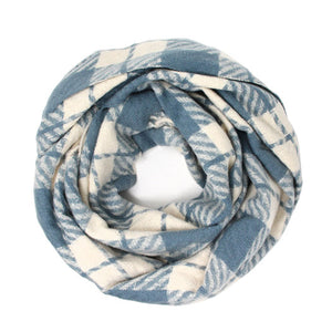 Classic Super Soft Blue Plaid Check Infinity Scarf Wintry Plaid Endless Loop Scarf delicate, on trend, deluxe addition to any cold-weather ensemble. Wraps around neck, great for daily wear, keeps you warm, feels amazing snuggled up against your cheeks. Perfect Gift Birthday, Christmas, Anniversary, Loved One, Valentine's Day