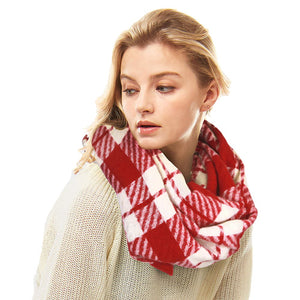 Classic Super Soft Red Plaid Check Infinity Scarf Wintry Plaid Endless Loop Scarf delicate, on trend, deluxe addition to any cold-weather ensemble. Wraps around neck, great for daily wear, keeps you warm, feels amazing snuggled up against your cheeks. Perfect Gift Birthday, Christmas, Anniversary, Loved One, Valentine's Day