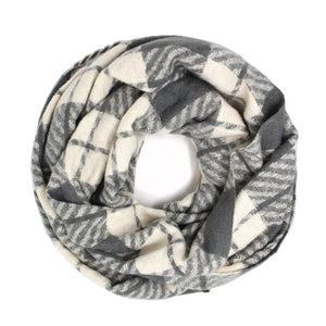 Classic Super Soft Dark Gray Plaid Check Infinity Scarf Wintry Plaid Endless Loop Scarf delicate, on trend, deluxe addition to any cold-weather ensemble. Wraps around neck, great for daily wear, keeps you warm, feels amazing snuggled up against your cheeks. Perfect Gift Birthday, Christmas, Anniversary, Loved One, Valentine's Day