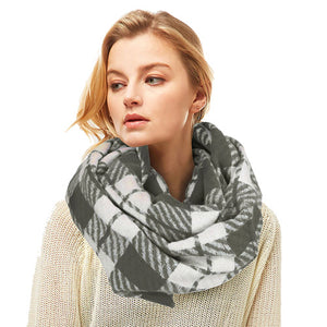 Classic Super Soft Charcoal Plaid Check Infinity Scarf Wintry Plaid Endless Loop Scarf delicate, on trend, deluxe addition to any cold-weather ensemble. Wraps around neck, great for daily wear, keeps you warm, feels amazing snuggled up against your cheeks. Perfect Gift Birthday, Christmas, Anniversary, Loved One, Valentine's Day