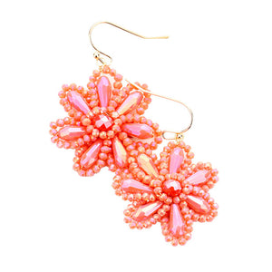 Coral Beaded Flower Earrings, jewelry that fits your lifestyle adding a pop of pretty color. Enhance your attire with this vibrant beautiful modish daisy dangle earrings. Perfect Birthday Gift, Mother's Day Gift, Anniversary Gift, Thank you Gift, complete your Easter Ensemble, Daisy Jewelry, Floral Earrings, Flower Earrings