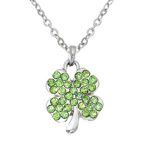 St. Patrick's Day Crystal Pave Clover Pendant Necklace Clover Necklace, perfect to accent your love for the Irish. The luck of the Irish will be with this year, these cute shamrock are the perfect accessory to finish off any festive look. Show your Irish pride, spread some Paddy magic, good luck, good cheer, Irish magic