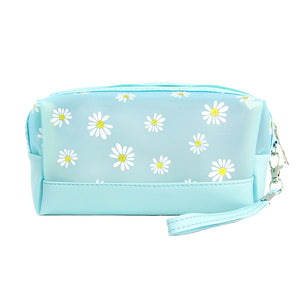 Aqua Floral Cosmetic Pouch Bag Daisy Cosmetic Pouch bag has many uses, place your makeup, use as a cosmetic bag, use as a students pencil case, essential oil case or drop in your bag & put phone, keys, coins, credit card, etc. Perfect Birthday Gift, Mother's Day Gift, Anniversary Gift, Vacation Getaway, Thank you Gift, complete your Easter Ensemble