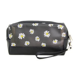 Black Floral Cosmetic Pouch Bag Daisy Cosmetic Pouch bag has many uses, place your makeup, use as a cosmetic bag, use as a students pencil case, essential oil case or drop in your bag & put phone, keys, coins, credit card, etc. Perfect Birthday Gift, Mother's Day Gift, Anniversary Gift, Vacation Getaway, Thank you Gift, complete your Easter Ensemble