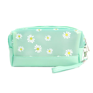 Mint Floral Cosmetic Pouch Bag Daisy Cosmetic Pouch bag has many uses, place your makeup, use as a cosmetic bag, use as a students pencil case, essential oil case or drop in your bag & put phone, keys, coins, credit card, etc. Perfect Birthday Gift, Mother's Day Gift, Anniversary Gift, Vacation Getaway, Thank you Gift, complete your Easter Ensemble