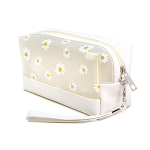 Ivory Floral Cosmetic Pouch Bag Daisy Cosmetic Pouch bag has many uses, place your makeup, use as a cosmetic bag, use as a students pencil case, essential oil case or drop in your bag & put phone, keys, coins, credit card, etc. Perfect Birthday Gift, Mother's Day Gift, Anniversary Gift, Vacation Getaway, Thank you Gift, complete your Easter Ensemble