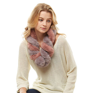 Deluxe Twisted Faux Fur Pull Through Scarf Soft Warm Faux Fur Scarf Cozy Pull Thru Scarf delicate, warm & fabulous, a plush addition to any cold-weather ensemble. Protects against chill, classic glamour, faux fur feels amazing snuggled up against cheeks. Perfect Gift Birthday, Holiday, Christmas, Anniversary, Loved One