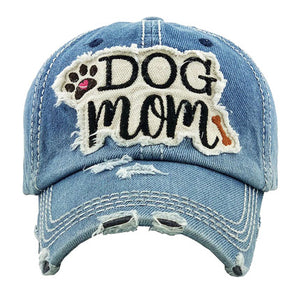 Denim Distressed DOG MOM Baseball Cap, great for the cool Dog Mom for the daily walks rain or shine. The distressed frayed style with faded color, embroidered patch and contrast stitching baseball cap with fun statement will become your favorite cap. Perfect Birthday Gift, Mother's Day Gift, Anniversary Gift, Thank you Gift