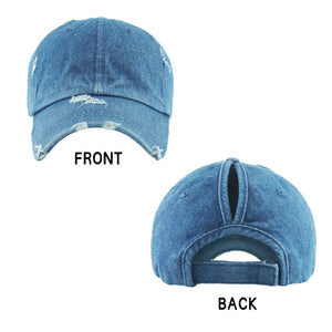 Denim Distressed Baseball Cap, Denim Vintage Ponytail Baseball Cap, comfy vintage cap great for a bad hair day, pull your bun or ponytail thru the back opening, great for keeping your hair away from face while exercising, running, playing sports or just taking a walk. Perfect Birthday Gift, Mother's Day Gift, Anniversary Gift, Thank you Gift, Graduation