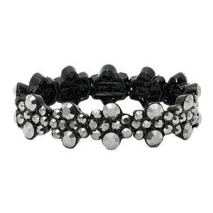 "Beautiful Crystal Rhinestone bubble stretch bracelet, stunning bracelet is sure to get you noticed, perfect for a night out on the town or a black tie party, ideal for Special Occasion, Prom or an Evening out. Size : 0.7"" H Color: AB Clear/Gold; Black Diamond; Hematite Stretchable"