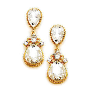 "Classic, Elegant Vicky Victorian Teardrop Crystal Rhinestone Evening Earrings,Special Occasion, ideal for parties, events, holidays, pair these stud back earrings with any ensemble for a polished look. Post Back Size: 0.6"" X 1.8"""