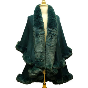 Elegant 2 Row Green Faux Fur Trim Knit Poncho, Green Faux Fur Trim Knit Ruana Cape, the perfect accessory, luxurious, trendy, super soft chic vest cape, keeps you warm & toasty. You can throw it on over so many pieces elevating any casual outfit! Perfect Gift for Wife, Mom, Birthday, Holiday, Christmas, Anniversary, Fun Night Out