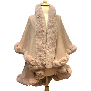 Elegant 2 Row Beige Faux Fur Trim Knit Poncho, Beige Faux Fur Trim Knit Ruana Cape, the perfect accessory, luxurious, trendy, super soft chic vest cape, keeps you warm & toasty. You can throw it on over so many pieces elevating any casual outfit! Perfect Gift for Wife, Mom, Birthday, Holiday, Christmas, Anniversary, Fun Night Out
