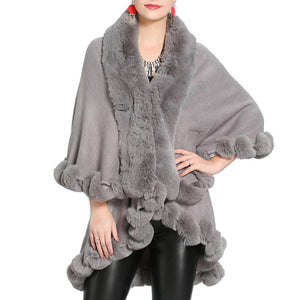 Elegant 2 Row Gray Faux Fur Trim Knit Poncho, Gray Faux Fur Trim Knit Ruana Cape, the perfect accessory, luxurious, trendy, super soft chic vest cape, keeps you warm & toasty. You can throw it on over so many pieces elevating any casual outfit! Perfect Gift for Wife, Mom, Birthday, Holiday, Christmas, Anniversary, Fun Night Out