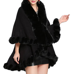 Elegant 2 Row Black Faux Fur Trim Knit Poncho, Black Faux Fur Trim Knit Ruana Cape, the perfect accessory, luxurious, trendy, super soft chic vest cape, keeps you warm & toasty. You can throw it on over so many pieces elevating any casual outfit! Perfect Gift for Wife, Mom, Birthday, Holiday, Christmas, Anniversary, Fun Night Out