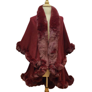Elegant 2 Row Burgundy Faux Fur Trim Knit Poncho, Burgundy Faux Fur Trim Knit Ruana Cape, the perfect accessory, luxurious, trendy, super soft chic vest cape, keeps you warm & toasty. You can throw it on over so many pieces elevating any casual outfit! Perfect Gift for Wife, Mom, Birthday, Holiday, Christmas, Anniversary, Fun Night Out